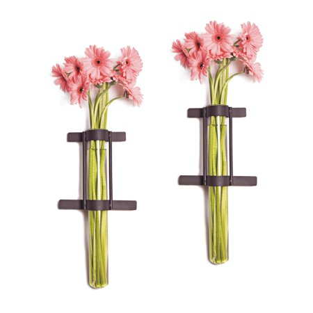Danya B. Wall Mount Cylinder Glass Vases with Rustic Rings Metal Stand (Set of 2) ()