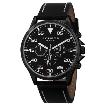 Akribos XXIV  Men's Swiss Quartz Multifunction Dual Time Leather Black Strap Watch