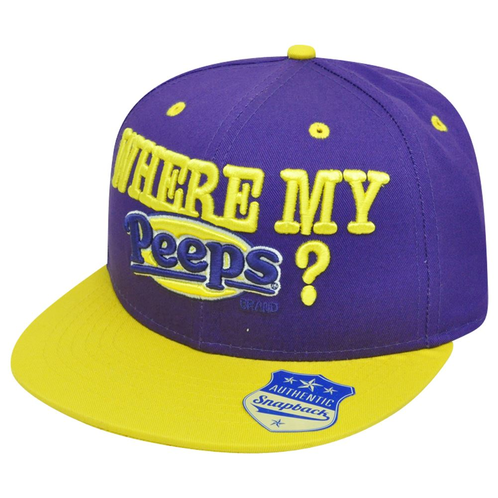 Marshmallow Where My Peeps Candy Brand Chicks Flat Bill Snapback Novelty Hat Cap
