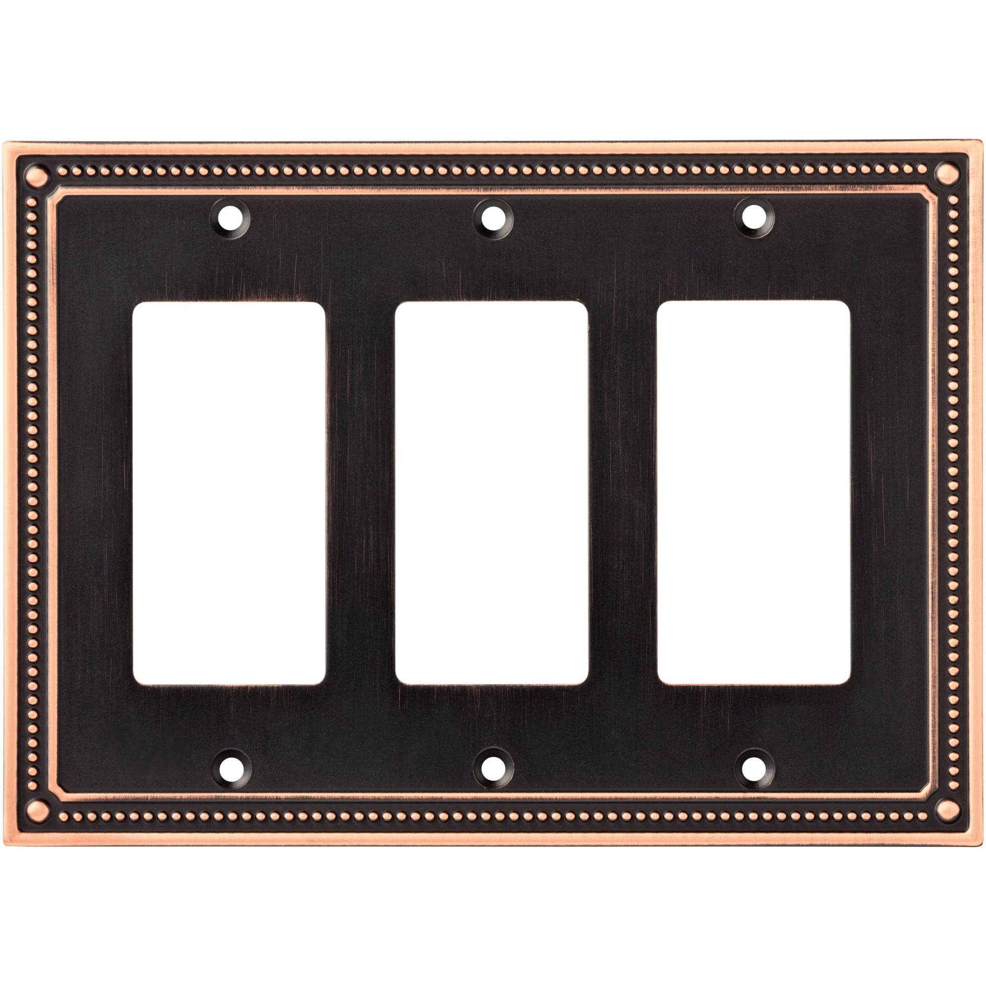 Franklin Brass Classic Beaded Triple Decorator Wall Plate in Bronze with Copper Highlights