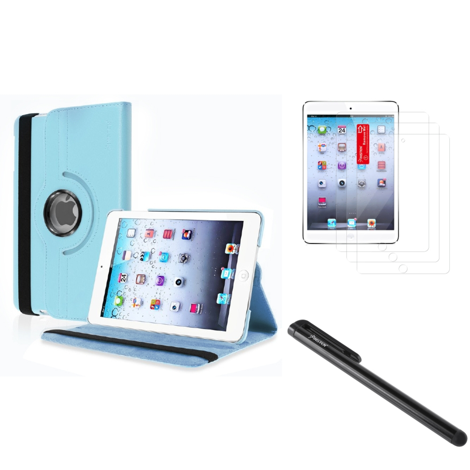 Insten For Apple iPad Mini 3 / 1 / 2 with Retina Display PU Leather Case Cover Light Blue (Supports Auto Sleep/Wake)