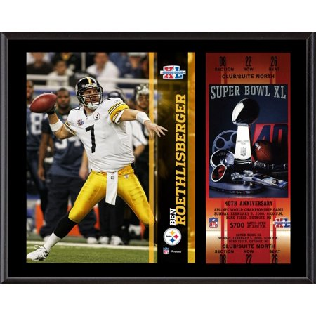 """Ben Roethlisberger Pittsburgh Steelers 12"""" x 15"""" Super Bowl XL Plaque with Replica Ticket"""