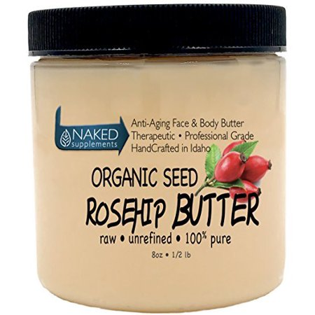 Organic Seed ROSEHIP BUTTER w/ Virgin Shea (8 oz)- Pure Vitamin C for the Face, Hair & Body | Soothe, Heal | Safe for all ages (8 oz)