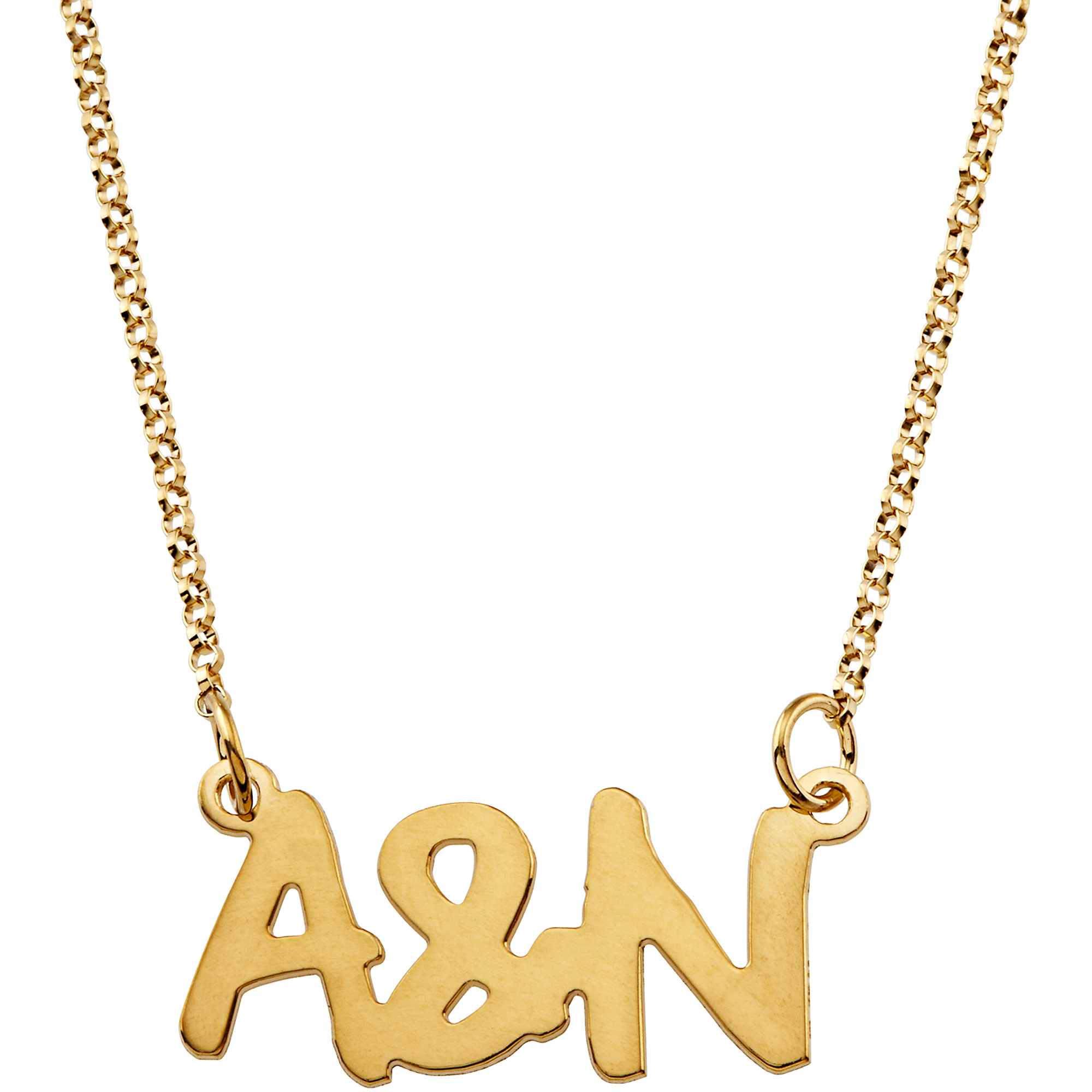 Personalized Women's Gold over Sterling Silver Couples Uppercase Initial Necklace, 18""