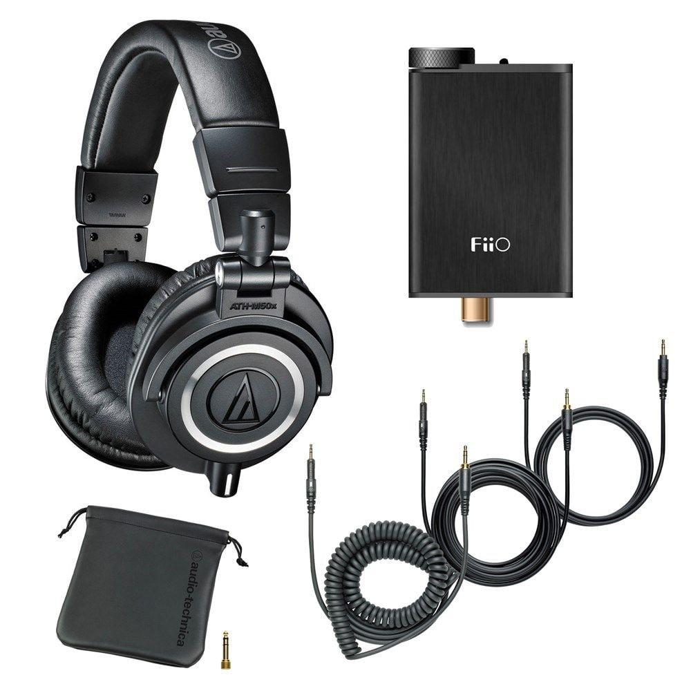 Audio-Technica Monitor Headphones (Black)+ FiiO E10K USB DAC Headphone Amplifier by Audio-Technica