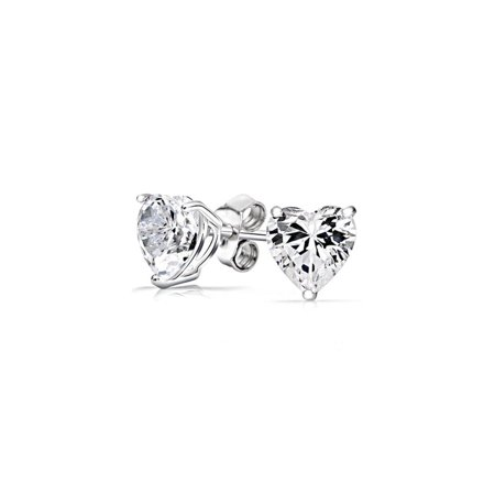 iParis Sterling Silver 3 Carat Heart Shaped White Sapphire Stud Earrings
