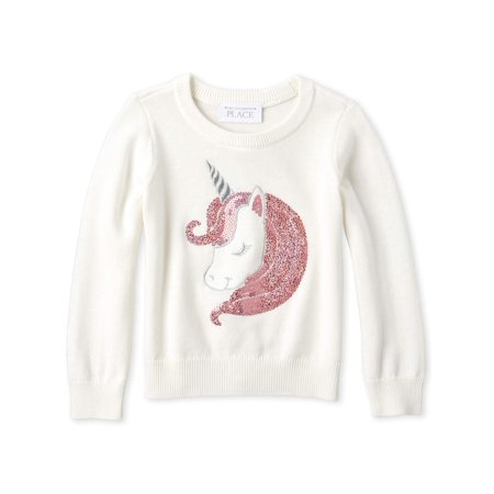 The Children's Place Long Sleeve Sequin Unicorn Knit Sweater (Baby Girls & Toddler Girls)
