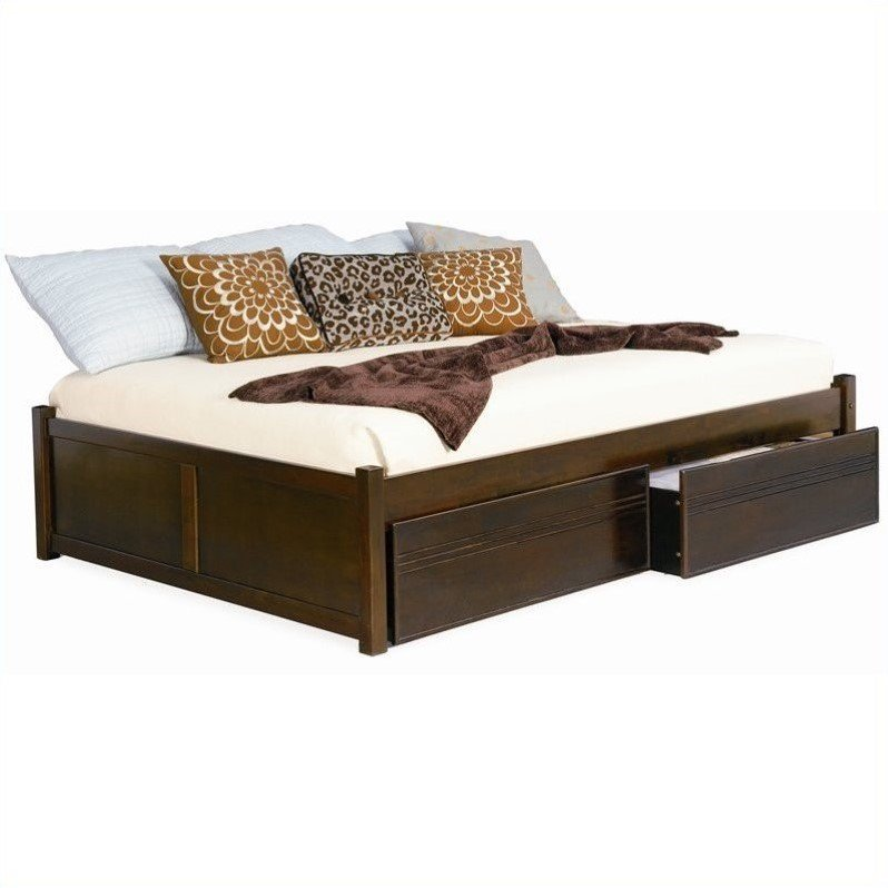 Atlantic Furniture Concord Flat Panel Wood Twin Daybed in...