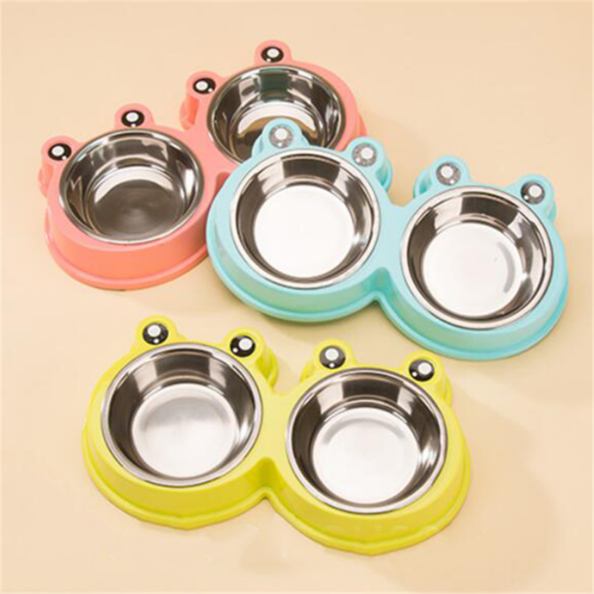 Double Dog Bowls Cute Stainless Steel Dog Bowl Non-Skid Feeder Bowls Pet Bowl Puppy bowl for Dogs Cats and Pets Water Food Bowl