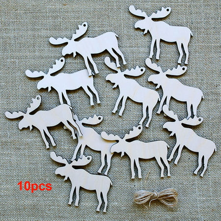10pcs Christmas Tree Decorations Wooden Pendants Crafts Scene Layout Hanging Ornaments Party Wedding Holiday Adornment - Christmas Scene Decorations