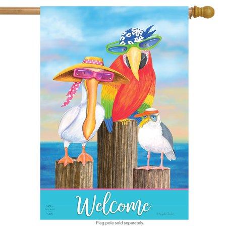 coastal bird welcome summer house flag nautical pelican seagull 28