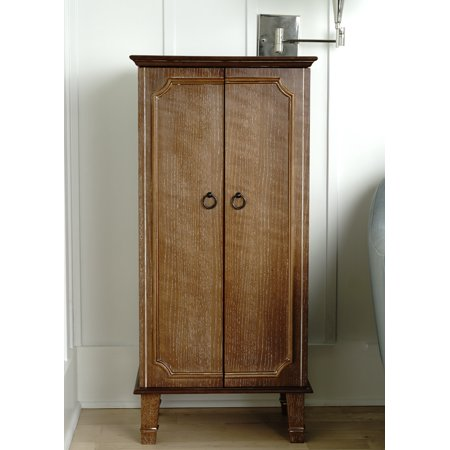 Cabby Fully Locking Standing Jewelry Armoire - Ceruse Oak