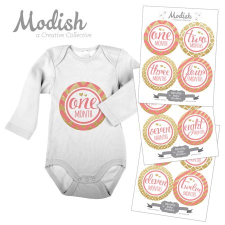 Modish Tailor Effects - Modish Monthly Baby Stickers, Girl, Coral, Pink, Gold, Chevron, Stripes, Baby Photo Prop, Baby Shower Gift, Baby Book Keepsake