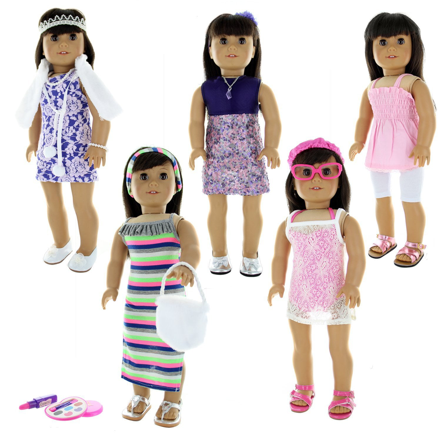 "Doll Clothes 24 Pieces Clothing Set Fits American Girl & Other 18"" Inch Dolls by Pink Butterfly Closet"