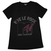MTV Music Television Vive Le Rock Vintage Style Jrs Babydoll Scoop Neck Soft