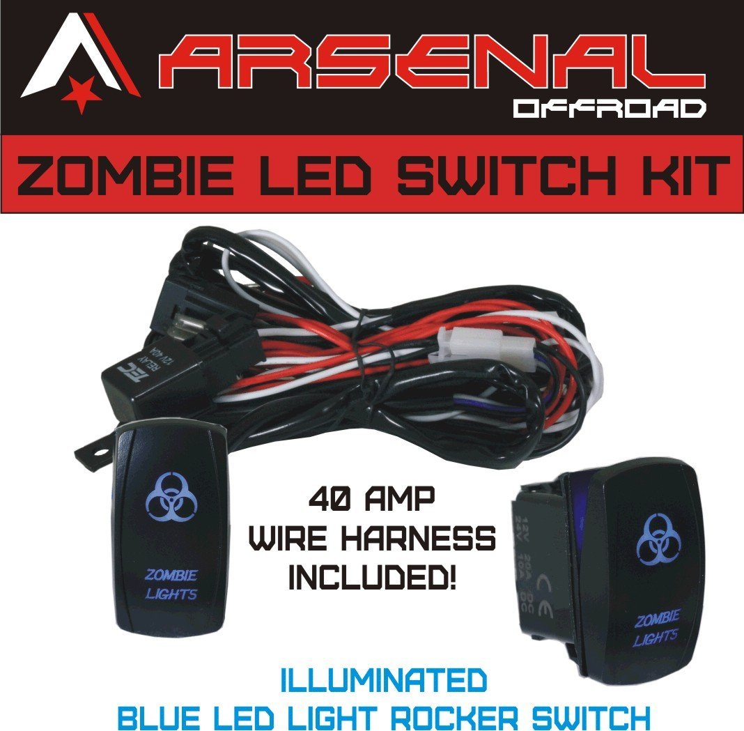 Zombie Rocker Switch Kit By Arsenal Offroad Tm 40 Amp Relay 30amp Light Wiring Diagram Fuse Laser Blue Led Spst On Off Harness Kits Great For Utv Suv