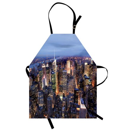 New York Apron Aerial View of NYC Full of Skyscrapers Manhattan Times Square Famous Cityscape Panorama, Unisex Kitchen Bib Apron with Adjustable Neck for Cooking Baking Gardening, Blue, by Ambesonne