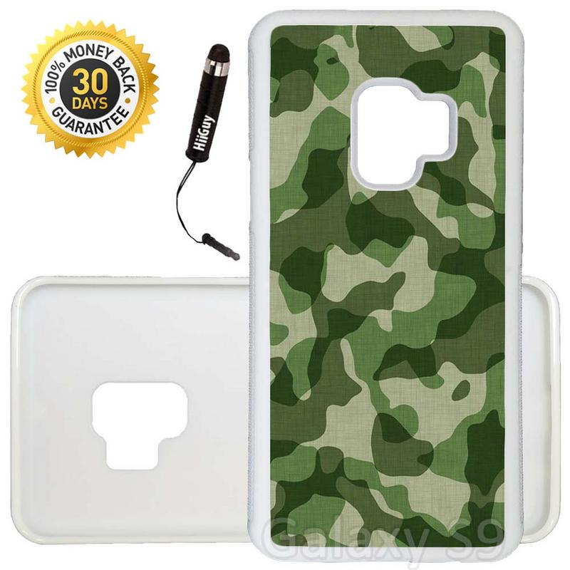 Custom Galaxy S9 Case (Green Camo Pattern) Edge-to-Edge Rubber White Cover Ultra Slim | Lightweight | Includes Stylus Pen by Innosub
