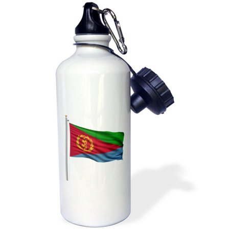 3dRose Flag of Eritrea on a flag pole over white Eritrean, Sports Water Bottle, 21oz