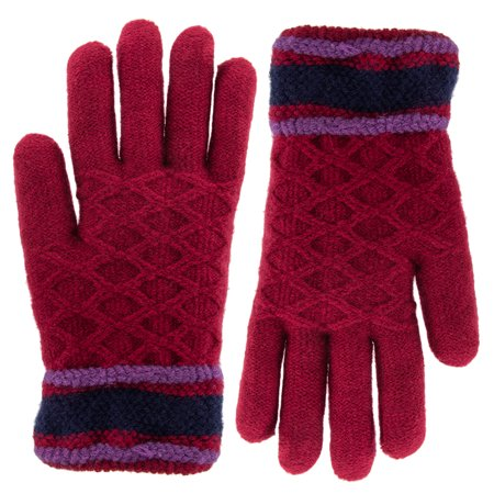 Classic Fashion Womens Winter Gloves For Cold Weather   Ladies Soft Warm Sherpa Fleece Lining Striped Patterned Acrylic Knitted Gloves