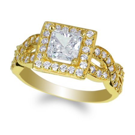 Womens 10K Yellow Gold 1.2ct Square Cubic Zirconia Engagement & Wedding Ring Size 4-10