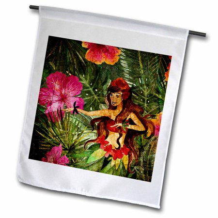 Hula Flamingo - 3dRose Aloha Colorful Flamingo Hula girl Jungle Tropical Floral Hawaii Pattern - Garden Flag, 12 by 18-inch