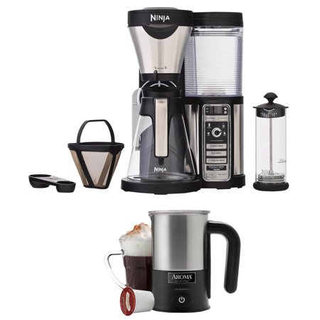 Ninja Coffee Bar Brewer with Glass Carafe and Reusable Filter (CF081) with Aroma Stainless Steel ...