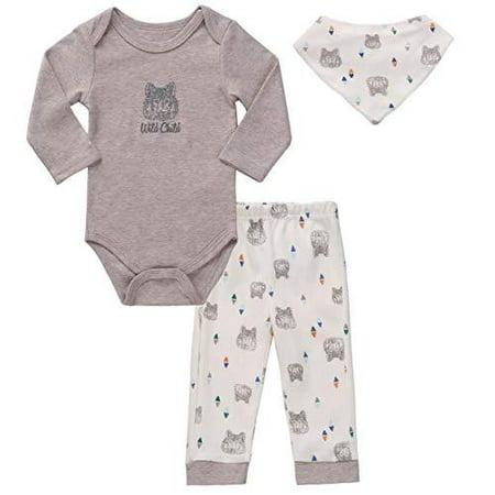 Asher & Olivia Unisex Baby Boy Outfits Long-Sleeve Onesies Pant Bib Clothes Set