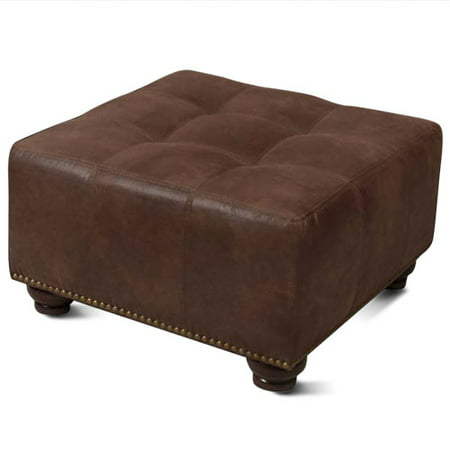 Image of Barrington Ottoman, Mahogany with Brass Nail Head Trim