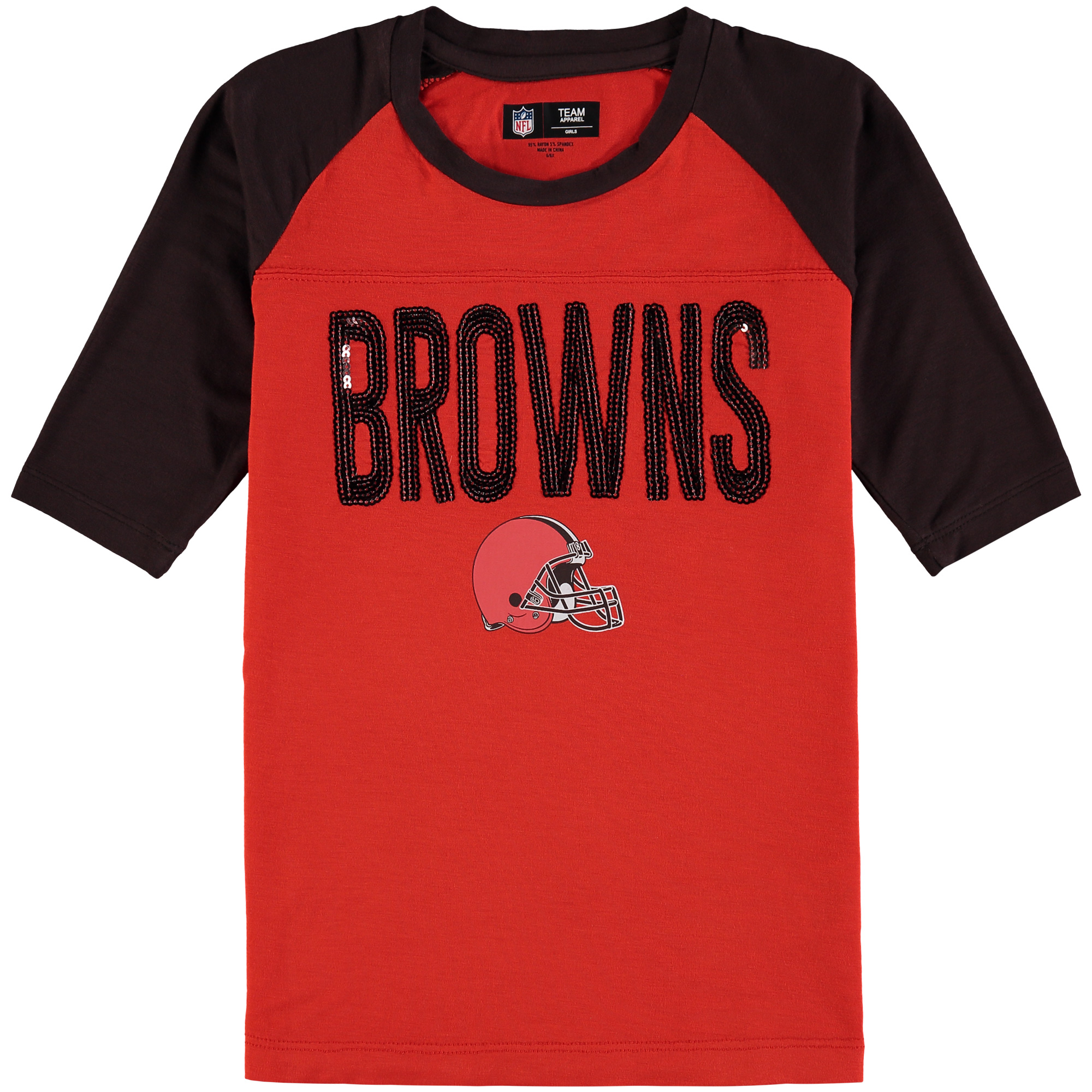Cleveland Browns 5th & Ocean by New Era Girls Youth Sequin 3/4 Sleeve Raglan T-Shirt - Red