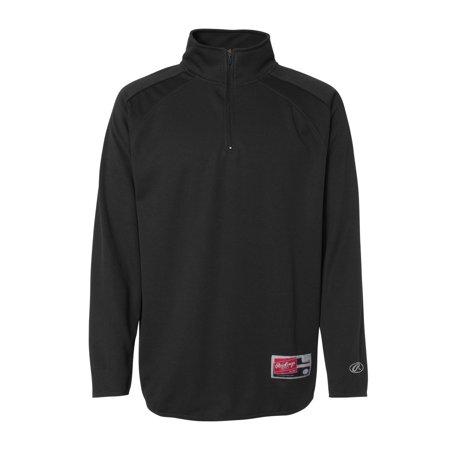 Rawlings 9751 Quarter Zip Flatback Mesh Fleece Pullover