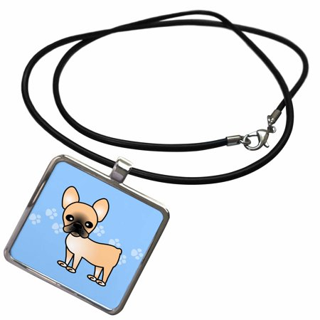 Fawn Pendant (3dRose Cute Black Masked Fawn Cream French Bulldog Blue with Pawprints - Necklace with Pendant)