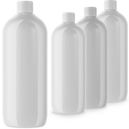 32 oz Plastic HDPE Bottles with Screw On Cap (4 Pack)