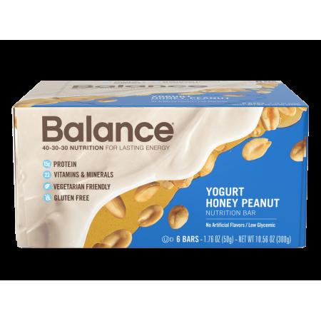Balance Bar Protein Bar, Yogurt Honey Peanut, 15g Protein, 6 Ct