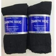 Creswell 6 Pairs Of Mens Black Diabetic Crew Socks 13-15 King Size