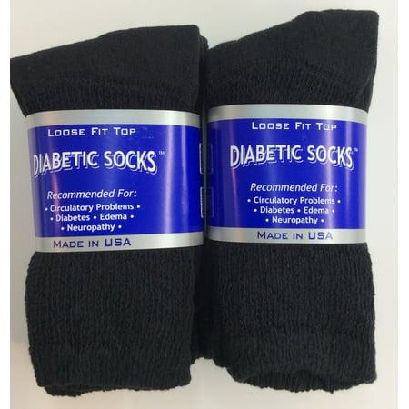 Black Diabetic Crew Socks (Creswell 6 Pairs Of Mens Black Diabetic Crew Socks 13-15 King Size )