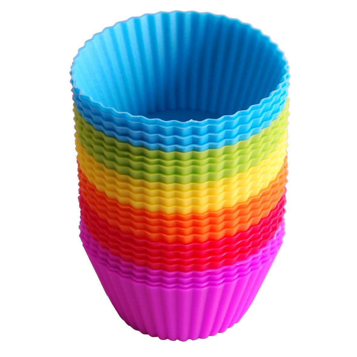 Click here to buy 24-Pack Reusable Silicone Baking Cups Cupcake Liners Muffin Cups Cake Molds.