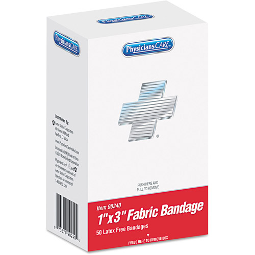 "PhysiciansCare 1"" x 3"" Fabric Bandages, 50 count"