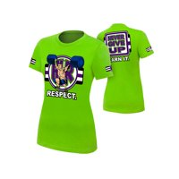 "Official WWE Authentic John Cena ""Cenation Respect"" Women's  T-Shirt Lime Green Small"