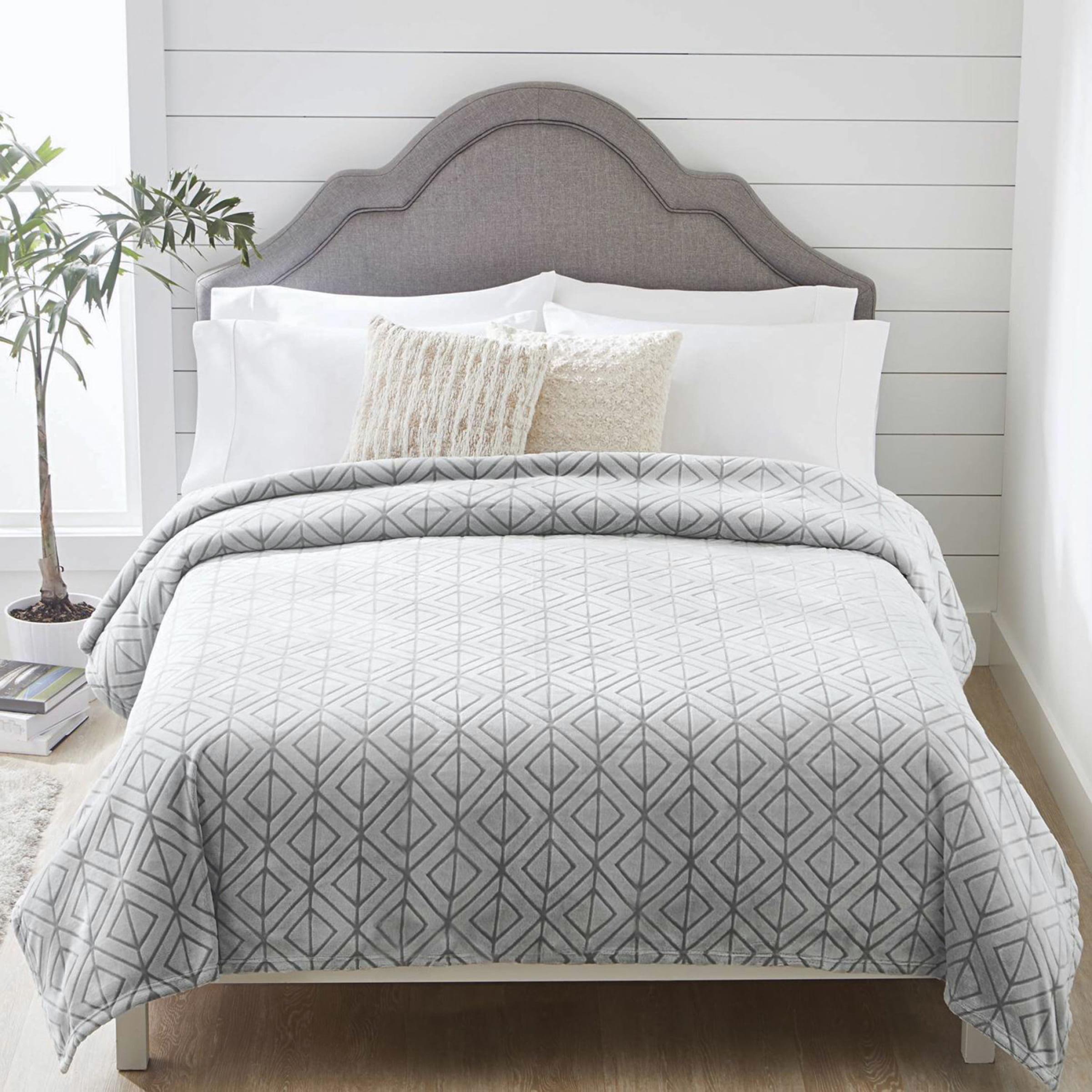 Better Homes & Gardens Velvet Plush Textured Silver Blanket, King