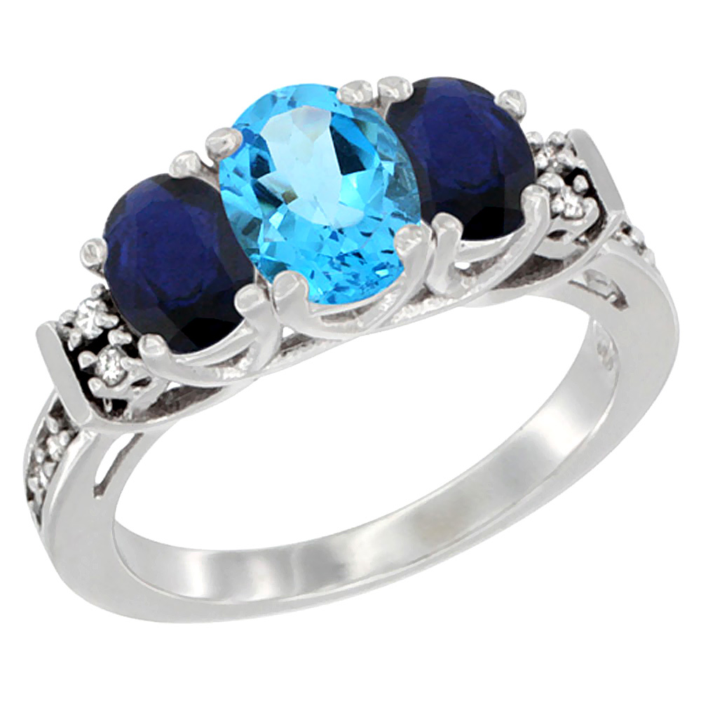 10K White Gold Natural Swiss Blue Topaz & HQ Blue Sapphire Ring 3-Stone Oval Diamond Accent, size 5.5 by Gabriella Gold
