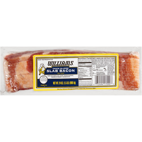 Williams Thick Sliced Slab Bacon, 24 oz