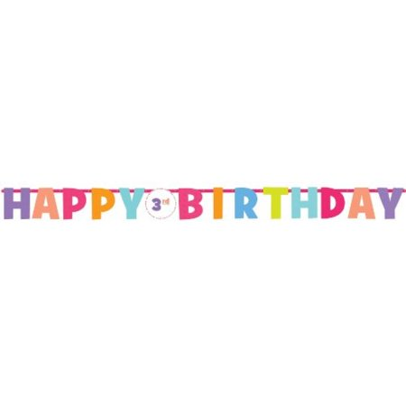 Amscan Happy Birthday Girl Pastel Add-an-Age Customizable Banner, Multicolored Pastels, 10 7/10' x 10
