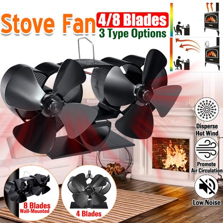 8 Blades Stove Fireplace Fan Self-Powered Heat Wood Heater Top Log Burner Silent Ecofan Fuel Friendly Saving Heat Wall Mounted ()