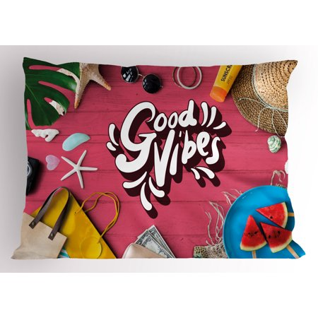Good Vibes Pillow Sham Positive Motivation Inspiration Concept Watermelon Holiday Items on Table Photo, Decorative Standard Size Printed Pillowcase, 26 X 20 Inches, Multicolor, by - Holiday Items