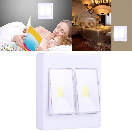 Switched Double Wall Light - AMZER Cordless 6W White Light Double COB LED Wall Light Switch Night Light Lamp