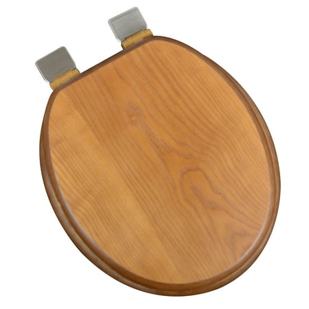 BathDecor Dark Brown Oak Wood Decorative Finish Round Front Toilet Seat with Adjustable Release