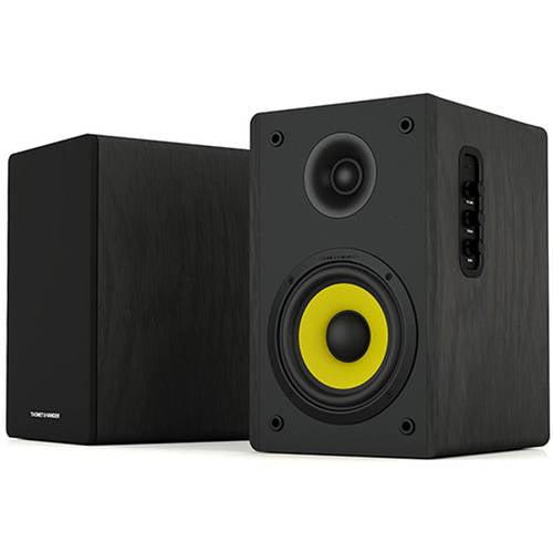 Thonet and Vander Kurbis Bluetooth 2.0 Wooden Bookshelf Bluetooth Speaker Pair, Black