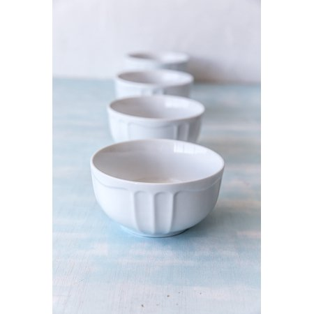 Rose Porcelain Bowl (overandback Porcelain Icecream bowls, Set of 4, White )