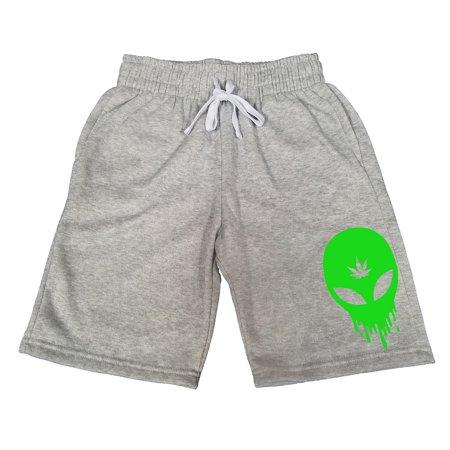 Men's Dripping Alien Weed Leaf V365 Gray Fleece Jogger Sweatpants Gym Shorts X-Large - Alien Pants